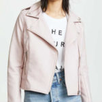 amelie moto, bb dakota, faux leather, moto jacket, parchment jacket, pink jacket, vegan jacket