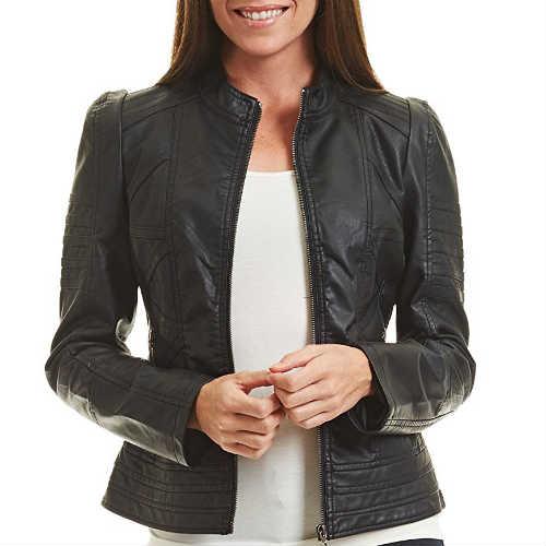 biker jacket, black jacket, faux leather, faux leather jacket, fitted jacket, form-hugging, leather jacket, moto jacket, vegan jacket
