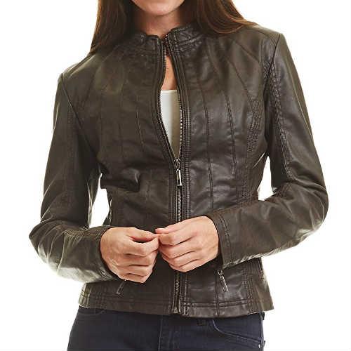 biker jacket, coffee leather jacket, faux leather, faux leather jacket, fitted jacket, form-hugging, leather jacket, lightweight, made by johnny jacket, mbj jacket, moto jacket, vegan jacket, vegan leather jacket