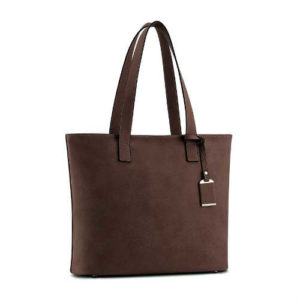 coffee handbag, coffee tote, large handbag, non leather handbag, non leather tote, shoulder strap handbag, shoulder strap tote, simple design handbag, vegan handbag, vegan tote