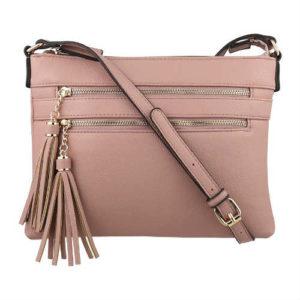 b brentano handbag, blush handbag, crossbody handbag, faux leather, faux leather handbag, multi-zipper handbag, small handbag, square handbag, vegan handbag