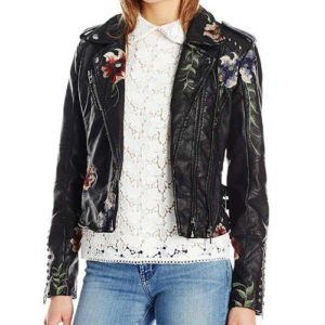 biker jacket, black jacket, blank nyc jacket, blanknyc, embroidered jacket, faux leather, faux leather jacket, fitted jacket, floral jacket, form-hugging, jacket, leather jacket, lightweight, moto jacket, studded jacket, vegan jacket, vegan leather jacket