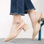 vegan shoes, non-leather shoes, beige shoes, slingback shoes, block heel shoes, suede shoes