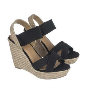 vegan wedges, vegan sandals, vegan shoes, vegan platform, woven wedges, black slingback, elastic shoes, strappy sandals
