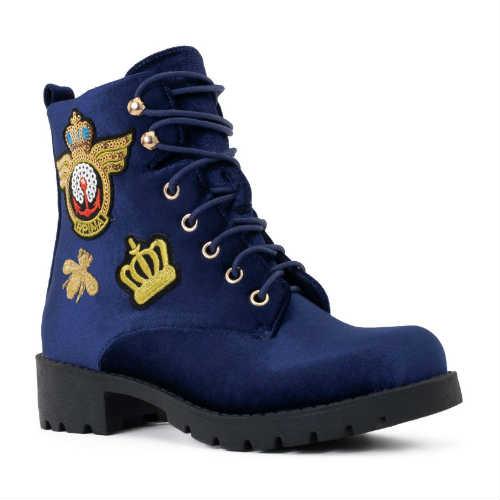 blue boots, combat boots, vegan shoes, vegan boots, faux velvet, lace-up boots, ankle boots